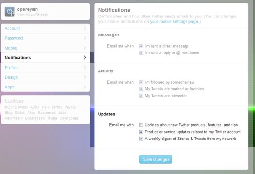 Haftalık Twitter mailleri nasıl engellenir?